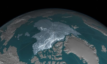 Image showing extent of new and old sea ice int he Arctic.