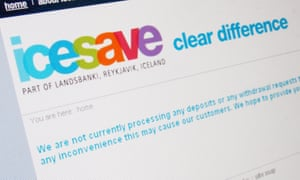 The website of the Icelandic bank Icesave on 7 October 2008 telling customers their deposits were frozen.
