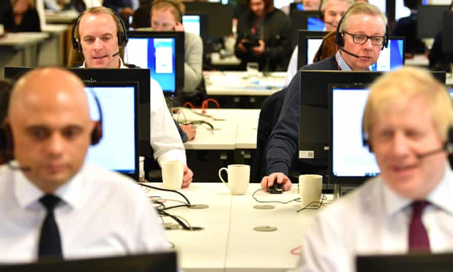 Prime minister Boris Johnson and cabinet colleagues man the lines at a Conservative part phone bank