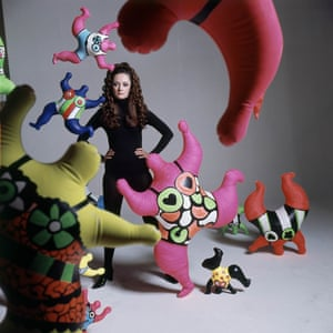 Niki de Saint Phalle among her Nana sculptures, photographed by Bert Stern for Vogue, April 1968