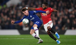 Billy Gilmour of Chelsea battles for possession with Fred of Manchester United.