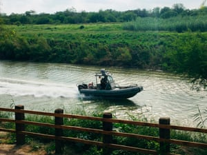 A U.S. Border Patrol boat navigates the Rio Grande near where the bodies of Salvadoran migrant Oscar Alberto Martínez Ramírez and his nearly 2-year-old daughter Valeria were found.