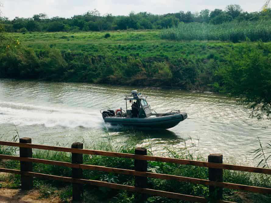 A U.S. Border Patrol boat navigates the Rio Grande near where the bodies of Salvadoran migrant Oscar Alberto Martínez Ramírez and his nearly 2-year-old daughter Valeria were found.