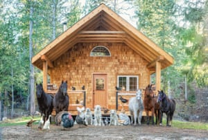 Animals line up outside a house in one of Hall's pics