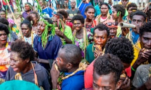Voters gather at a polling station in Buka to cast their ballot in the Bougainville independence referendum.