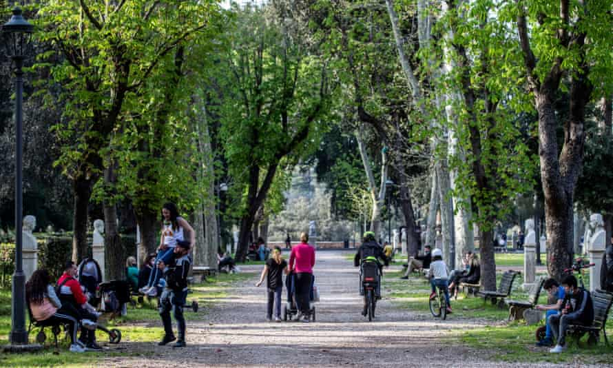 A busy park in Rome