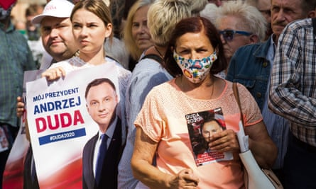 Supporters attend a rally addressed by Poland's rightwing current president Andrzej Duda ahead of next Sunday's poll.