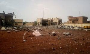 Debris scattered in front of the headquarters of the G5 Sahel anti-terror taskforce in Sévaré.