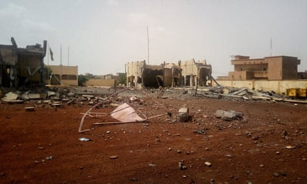 Debris scattered in front of the headquarters of the G5 Sahel anti-terror taskforce in Sévaré.