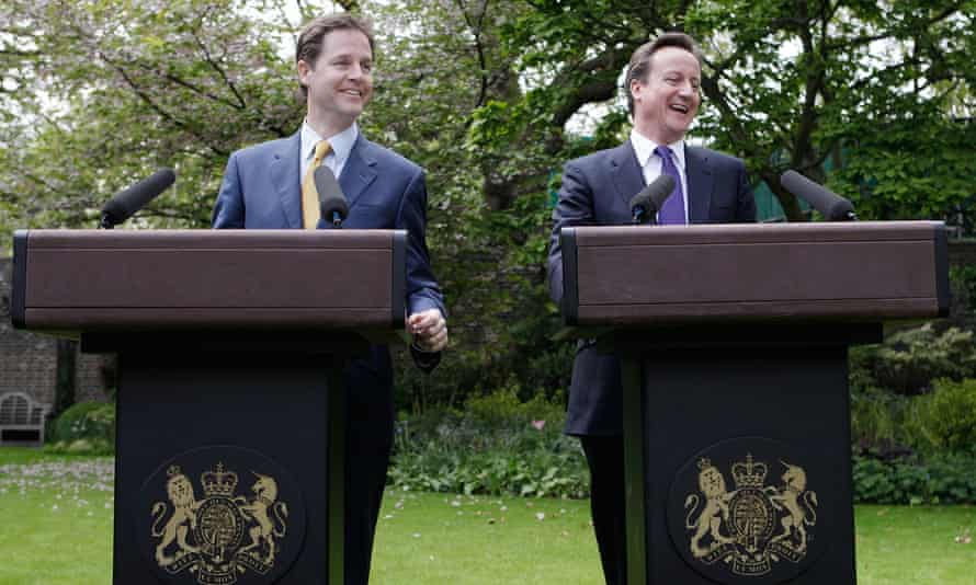 David Cameron and Nick Clegg in the rose garden of No 10