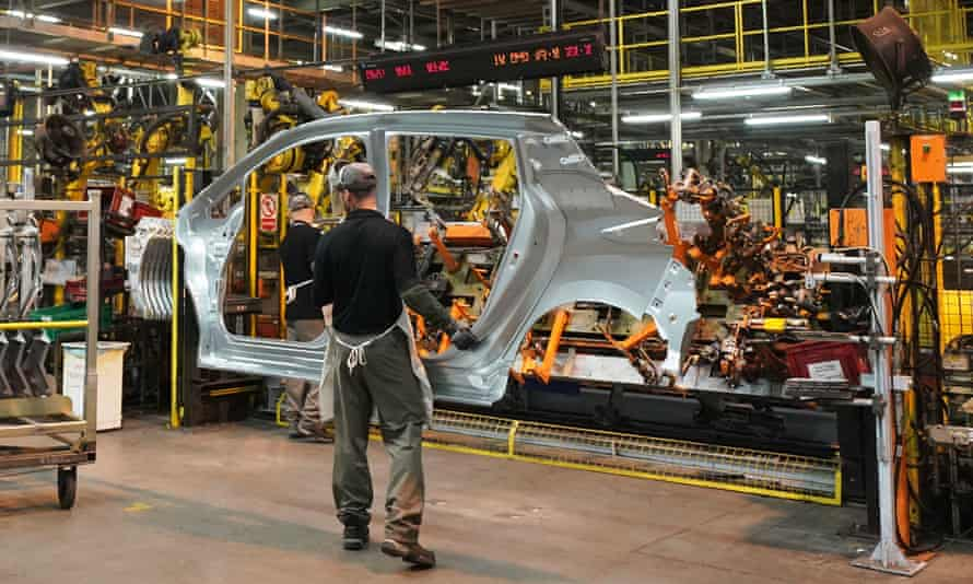The production line at Nissan's factory in Sunderland