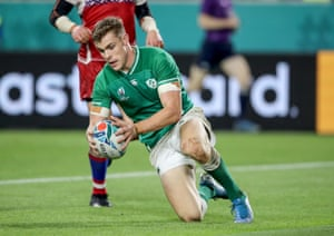 Ireland's Garry Ringrose scores their fifth try.