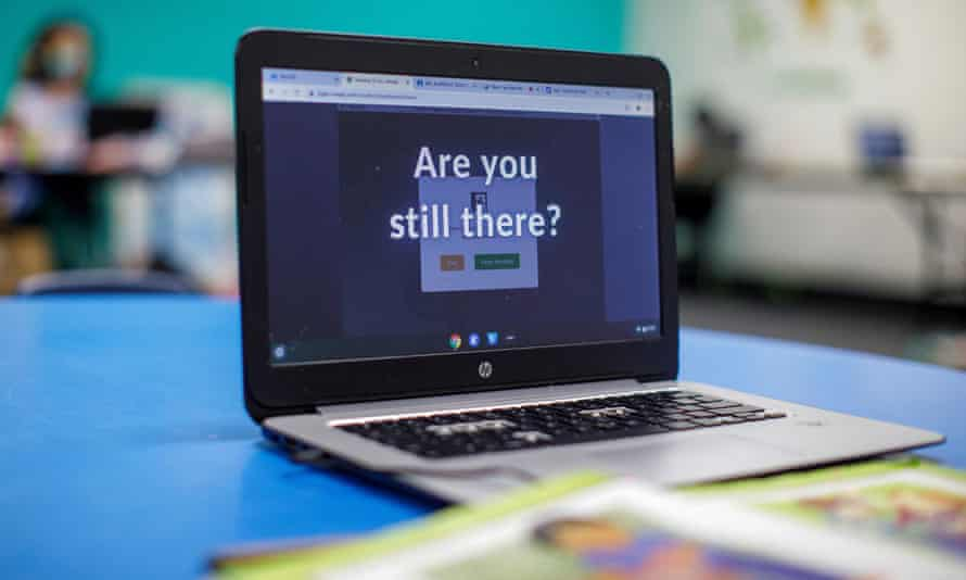 A computer screen in class asks 'Are you still here?'
