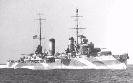 HMAS Perth with a disruptive camouflage paint scheme.