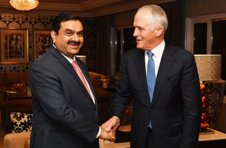 Australian prime minister Malcolm Turnbull (right) meets with Adani Group founder and chairman Gautam Adani in April 2017.