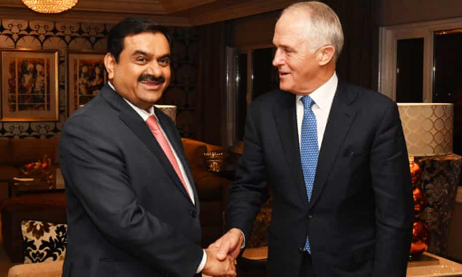Australian prime minister Malcolm Turnbull (right) meets with India's Adani Group founder and chairman Gautam Adani in April.