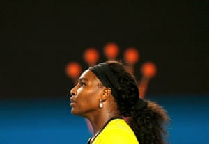 Serena Williams reacts as she struggles at the beginning of the final set.