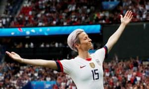 Megan Rapinoe celebrates scoring for the US.