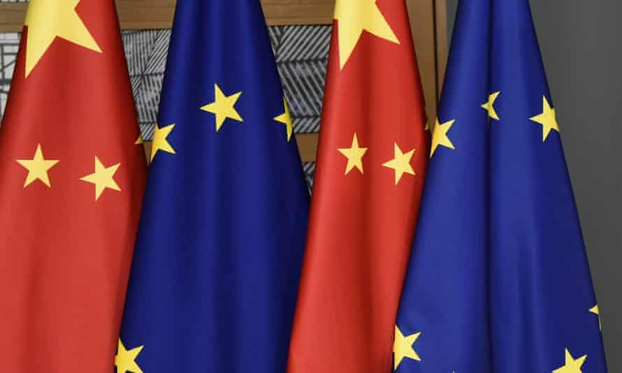 Chinese and EU flags in Brussels