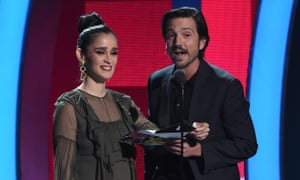 Singer Julieta Venegas and Diego Luna present the award for Song of the Year during the Latin Grammy Awards on November 17, 2016, in Las Vegas, Nevada.