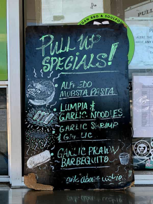 On the menu at Vegan Mob in Oakland.