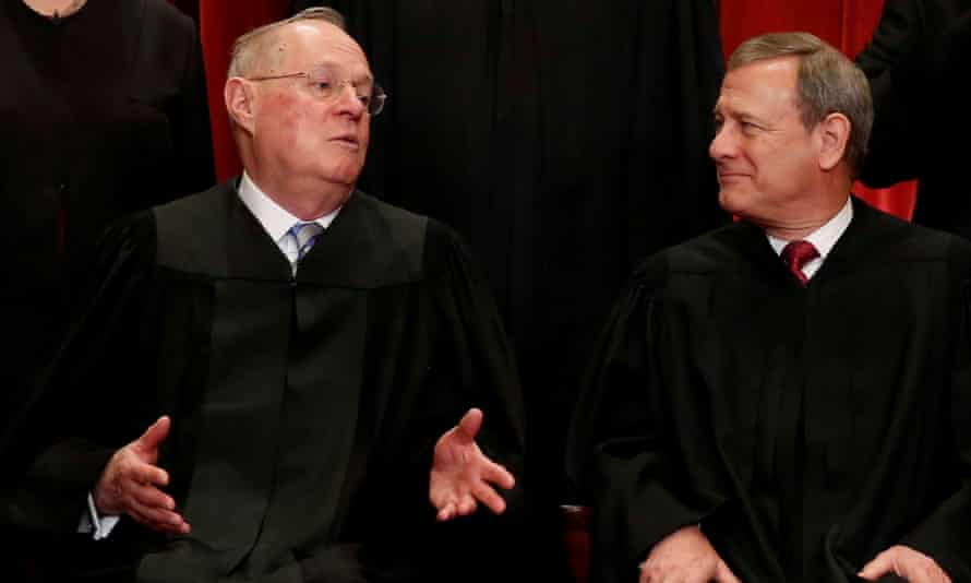 The retiring supreme court justice Anthony Kennedy, left, has always agreed that race is an allowable factor unlike the chief justice, John Roberts, who has consistently voted against affirmative action cases.
