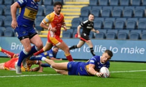 Ash Handley touches down at Headingley where Leeds dominated the Super League tie against Catalans.
