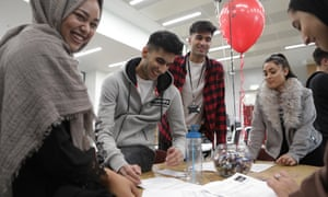 Rochdale sixth form college students compare their results.