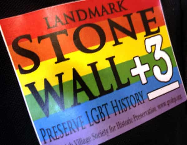 A sticker worn on the shirt an attendee at a New York City landmarks commission meeting.