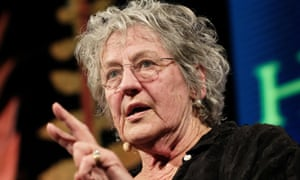 It must be lonely up there … Germaine Greer at the Hay festival last week.