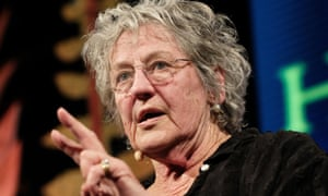 Germaine Greer on stage at the Hay festival talking about rape