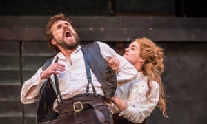 Thrilling … Edward MacLiam as Petruchio and Aoife Duffin as Katherine in The Taming of the Shrew at Shakespeare's Globe, London.