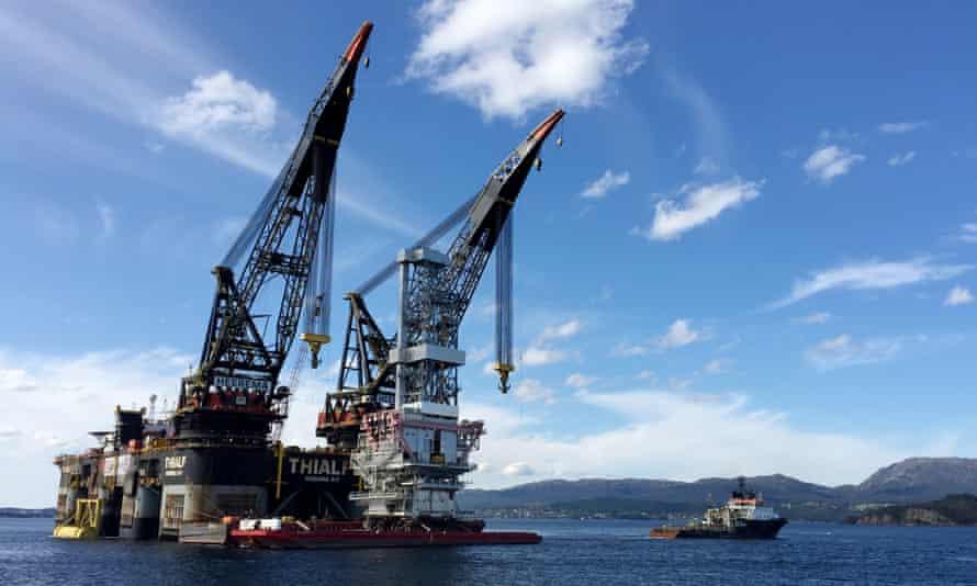 The drilling platform at Johan Sverdrup oilfield near Stord, western Norway.