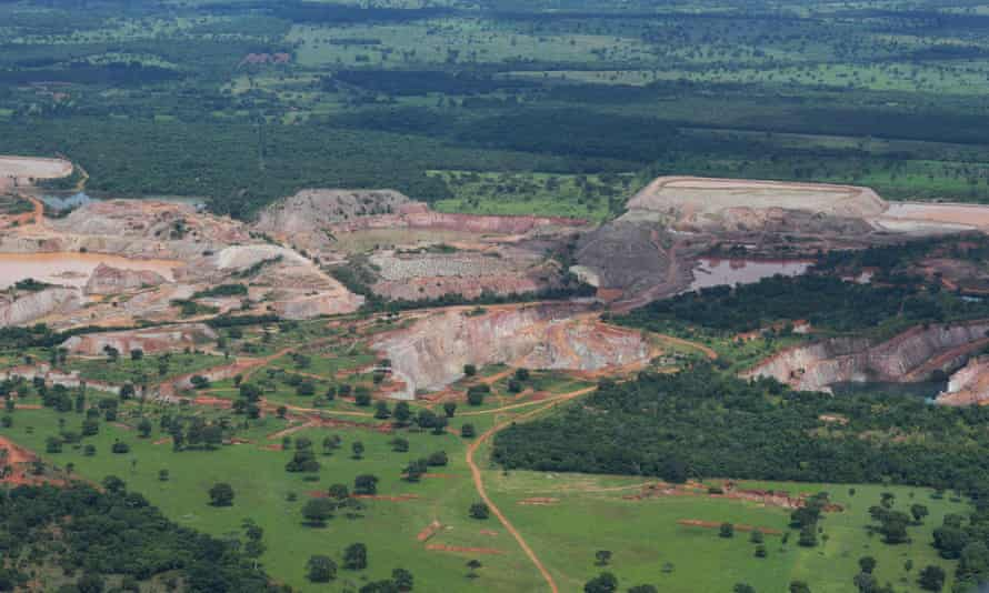 Aerial view of mining activity, at the Pantanal wetlands, in Mato Grosso state, Brazil.