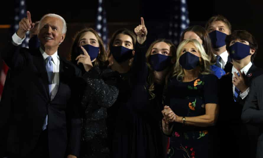 Joe Biden and family watch fireworks after his address to the nation on Saturday