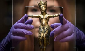 Lucy Creighton with the 16cm copper alloy figure of Christ that has returned home to York for the first time in nearly two centuries.