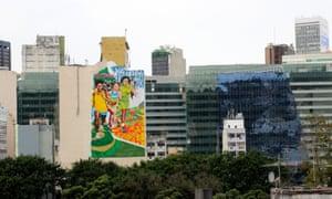 Giant artwork on a city apartment block