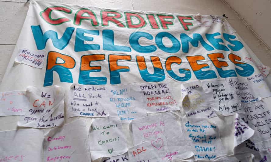 A banner at a Local Welcome event designed to help refugees integrate with the community.