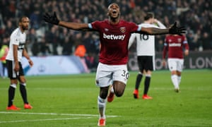 West Ham's Michail Antonio celebrates scoring their third goal.
