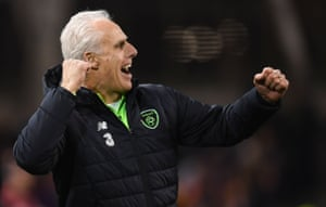 Republic of Ireland manager Mick McCarthy celebrates his teams 1-0 win.