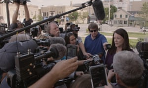 Meet the press: Zellner is surrounded by reporters.