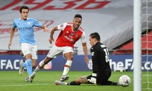 Arsenal's Pierre-Emerick Aubameyang scores their second goal.