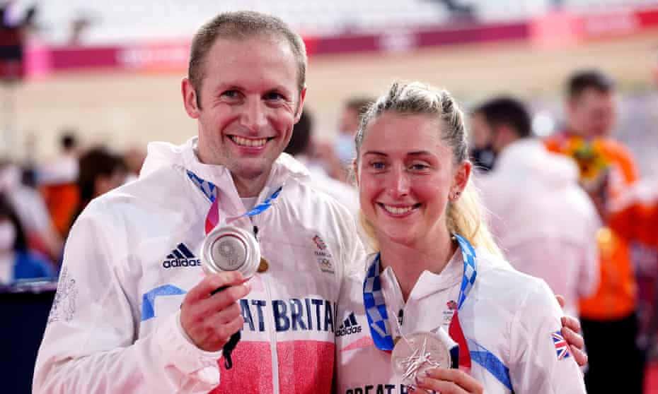 Team GB's Jason and Laura Kenny show off their silver medals for the men's team sprint and the women's team pursuit in Tokyo.