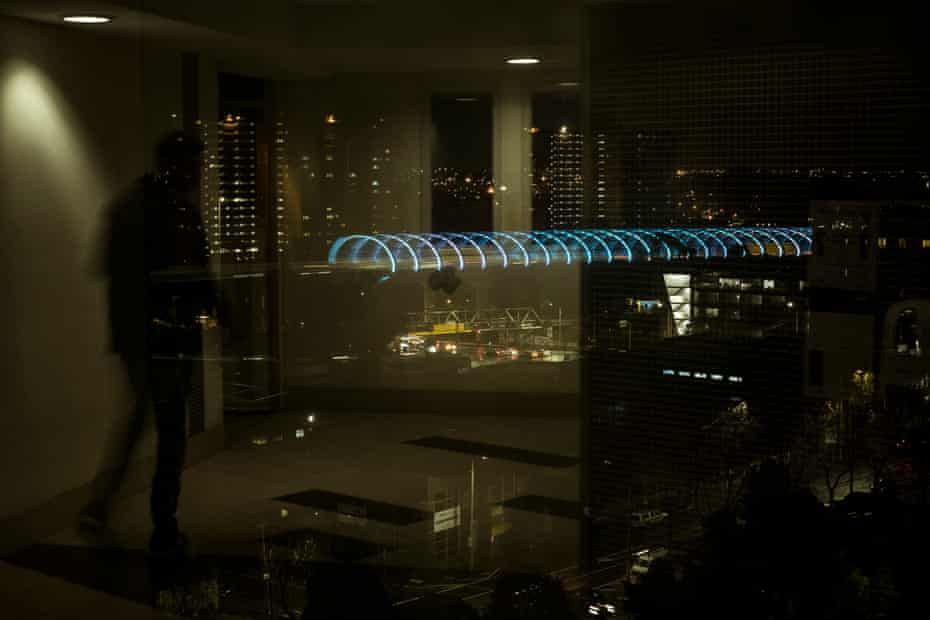 The Flemington Housing Community towers are seen at night from Barry Berih's floor of the Alfred Street tower