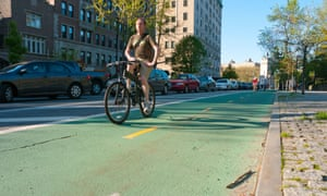 The Prospect Park West cycle track.