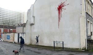 The mural by artist Banksy in Marsh Lane in Bristol.