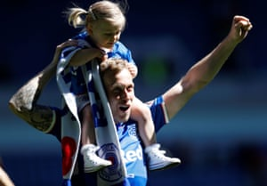 Rangers' Scott Arfield salutes the fans after their 2-0 win.