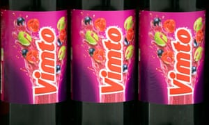 Bottles of Vimto, produced by Nichols Plc., are seen on a supermarket shelf in London