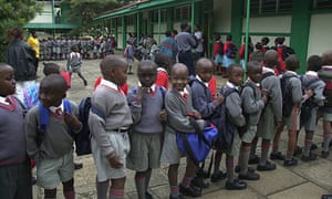 Hundreds of children line up to go to their class rooms at Buru Buru 1 Primary School in Nairobi
