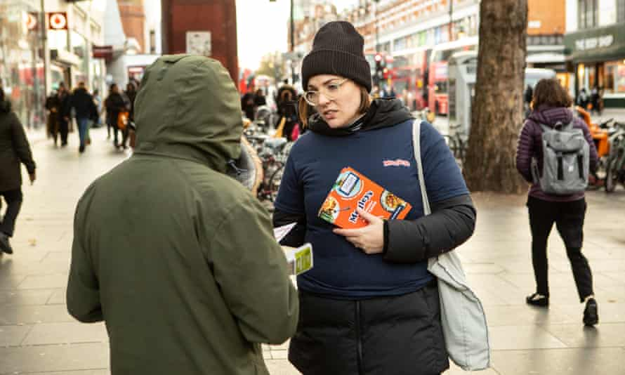 Rachel Stephenson of Shift, out promoting Medleys' menu on the streets of south London.